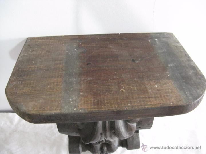 Antigüedades: ESPECTACULAR MÉNSULA ANTIGUA DE MADERA MACIZA + DE 3 KG. - Foto 3 - 51802095