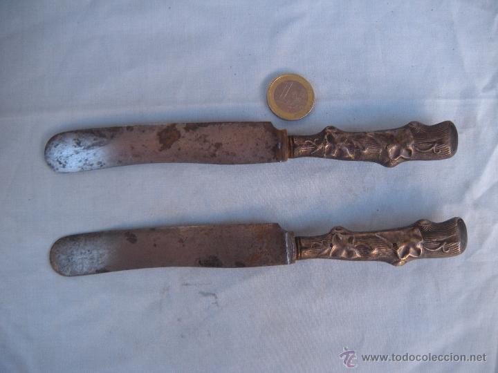 Antigüedades: ANTIGUO CUCHILLO CON EMPUÑADURA DE PLATA 800 - Foto 2 - 51808312