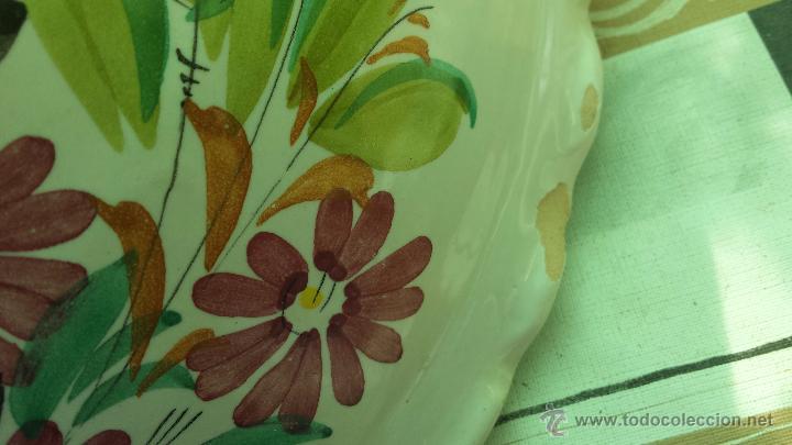 Antigüedades: frutero o centro de mesa pintado a mano, firmado lario - Foto 5 - 127424966