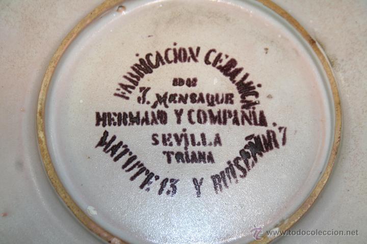 Antigüedades: EXCEPCIONAL PLATO DE CUERDA SECA DE MENSAQUE HERMANO Y COMPAÑIA TRIANA SEVILLA S.XIX - Foto 4 - 51737836