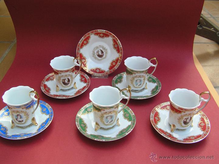 Antigüedades: JUEGO DE CAFÉ .PORCELANA, 5 tazas y 6 platos. Graciosas tazas con patitas. - Foto 2 - 89855987