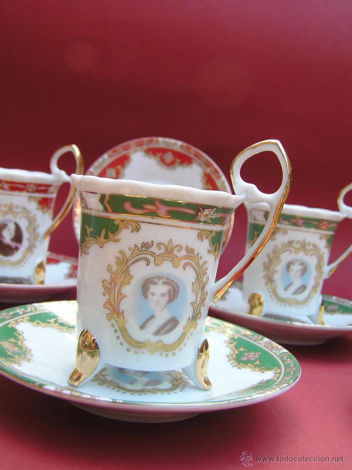 Antigüedades: JUEGO DE CAFÉ .PORCELANA, 5 tazas y 6 platos. Graciosas tazas con patitas. - Foto 4 - 89855987