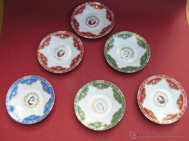 Antigüedades: JUEGO DE CAFÉ .PORCELANA, 5 tazas y 6 platos. Graciosas tazas con patitas. - Foto 6 - 89855987