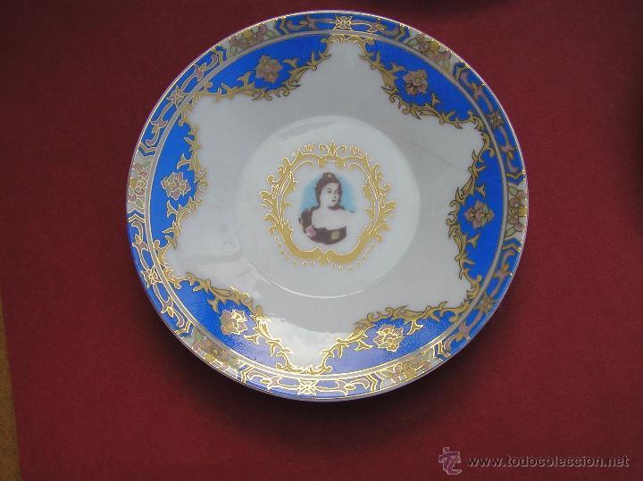 Antigüedades: JUEGO DE CAFÉ .PORCELANA, 5 tazas y 6 platos. Graciosas tazas con patitas. - Foto 7 - 89855987