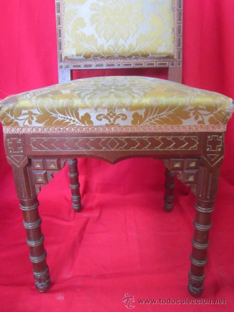 Antigüedades: Magnífica silla tallada en madera de caoba. - Foto 2 - 51886008