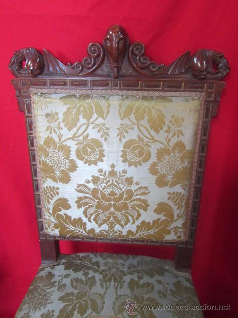 Antigüedades: Magnífica silla tallada en madera de caoba. - Foto 3 - 51886008