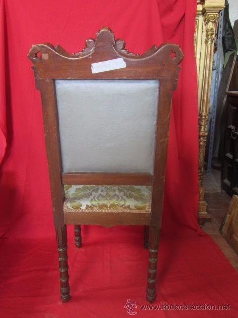 Antigüedades: Magnífica silla tallada en madera de caoba. - Foto 4 - 51886008