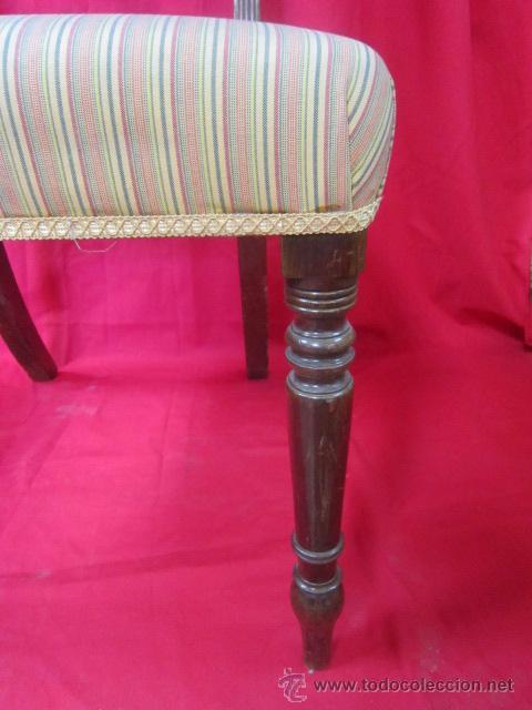 Antigüedades: Magnífica silla estilo eduardino en madera de caoba. Asiento tapizado. - Foto 2 - 51886209