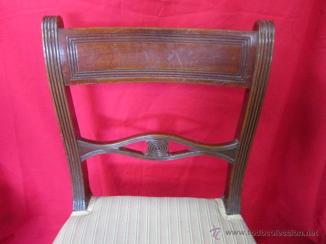 Antigüedades: Magnífica silla estilo eduardino en madera de caoba. Asiento tapizado. - Foto 3 - 51886209