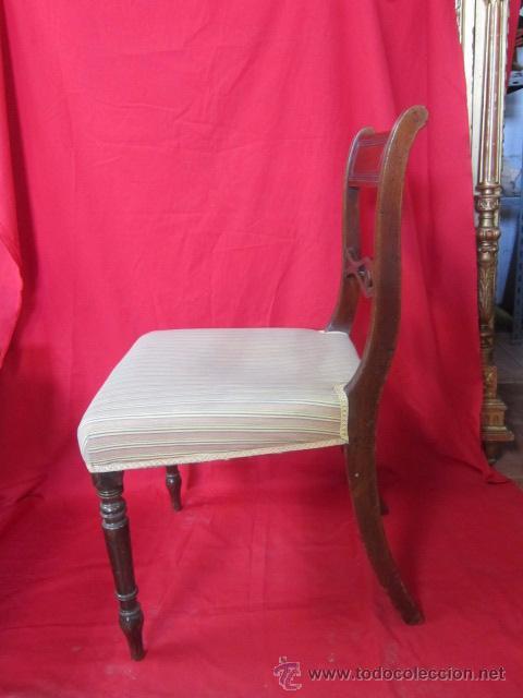 Antigüedades: Magnífica silla estilo eduardino en madera de caoba. Asiento tapizado. - Foto 4 - 51886209