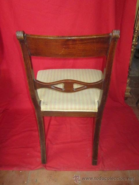 Antigüedades: Magnífica silla estilo eduardino en madera de caoba. Asiento tapizado. - Foto 5 - 51886209