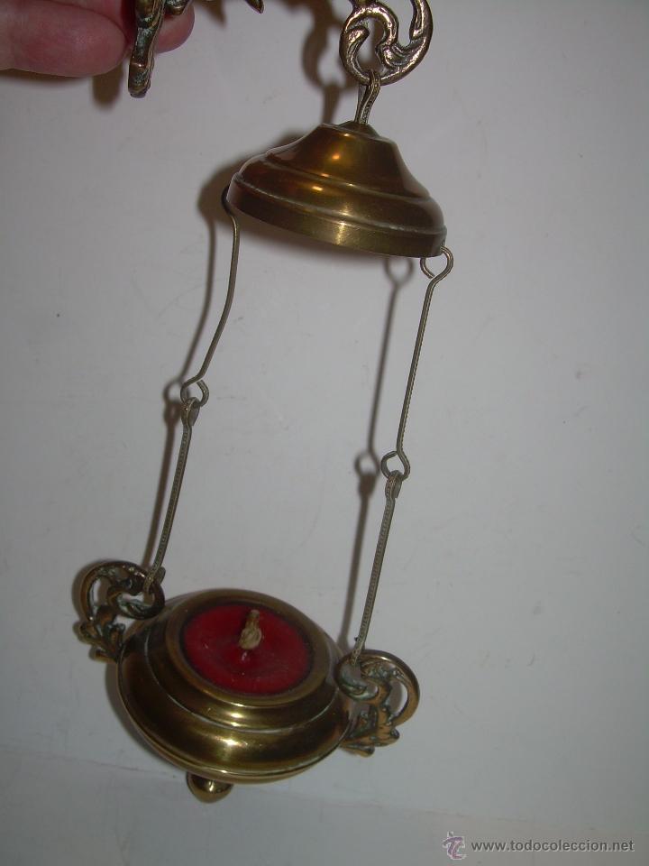 Antigüedades: ANTIGUA Y BONITA LAMPARA VOTIVA DE BRONCE Y LATON. - Foto 2 - 51927603