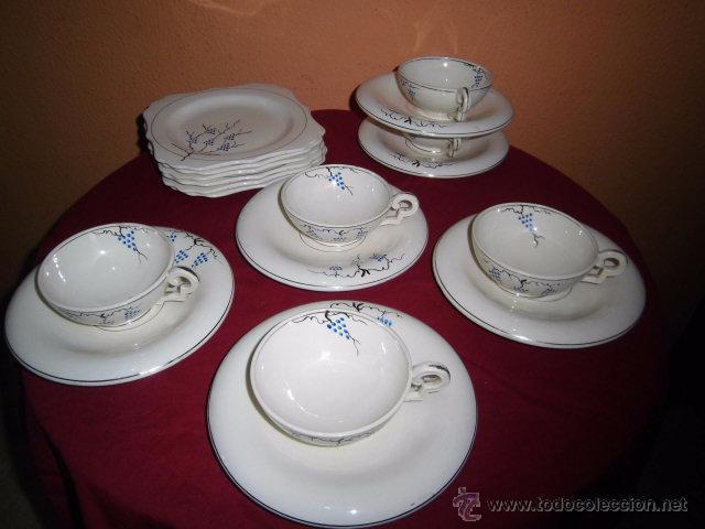 BONITO JUEGO DE CAFE O TE Y SEIS PLATOS DE POSTRE MARIANO POLA GIJON (Antigüedades - Porcelanas y Cerámicas - Otras)