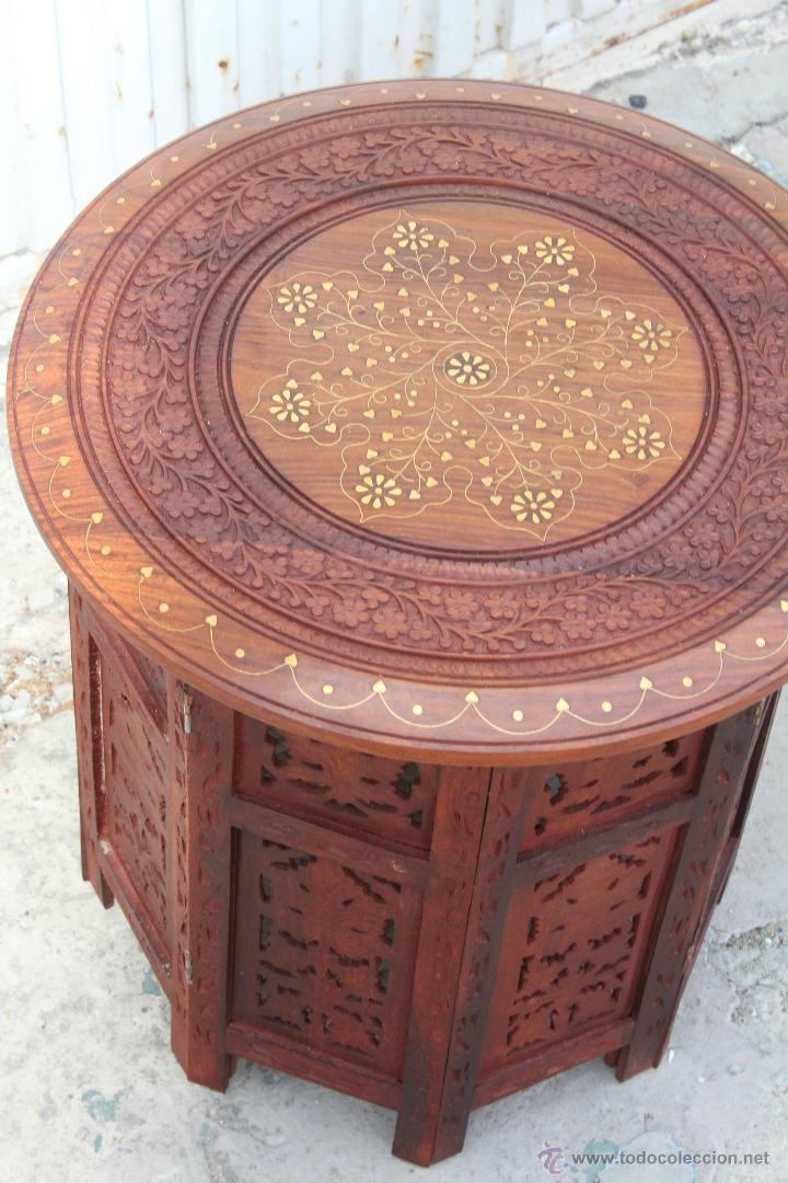 Mesa de te arabe en madera de cedro con incrust comprar for Mesas antiguas de madera