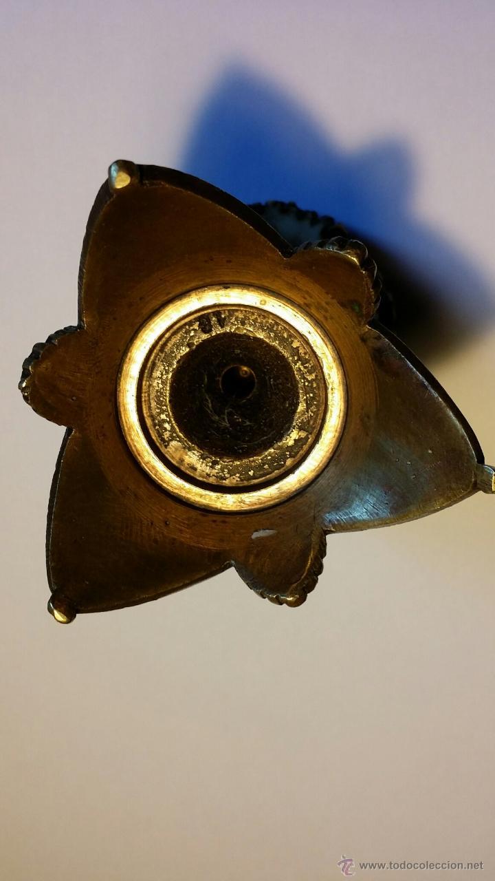 Antigüedades: Caza: antiguo cuenco de bronce en base de cornamenta - Foto 4 - 51963450