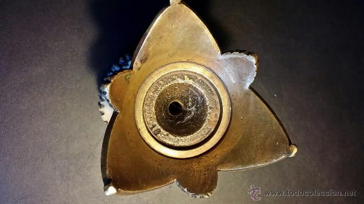 Antigüedades: Caza: antiguo cuenco de bronce en base de cornamenta - Foto 11 - 51963450