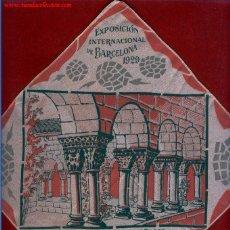 Antigüedades: PAÑUELO ANTIGUO TEMÁTICO DE LA EXPOSICIÓN INTERNACIONAL DE BARCELONA 1929.. Lote 51964375
