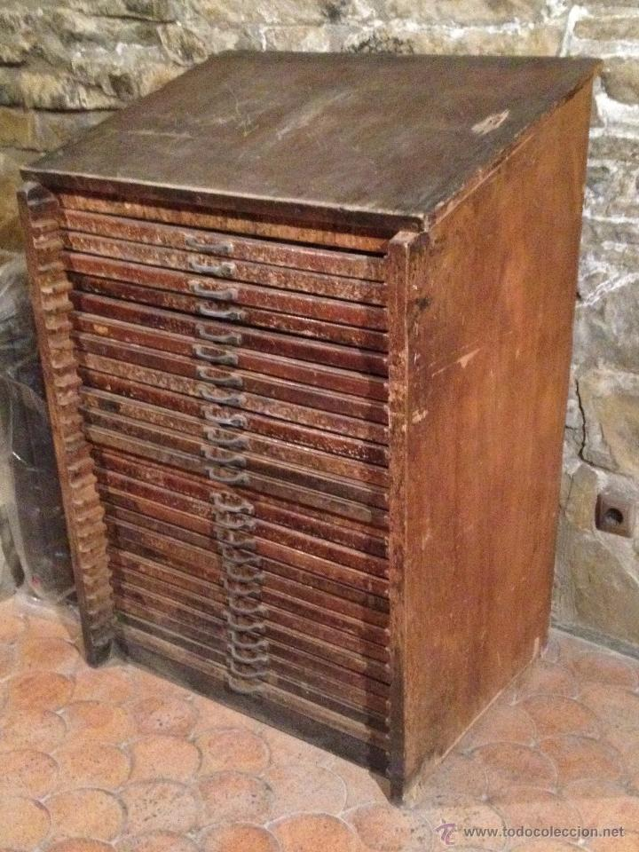 Elegant CHIBALETE MUEBLE DE IMPRENTA (Antigüedades   Muebles Antiguos   Auxiliares  Antiguos)