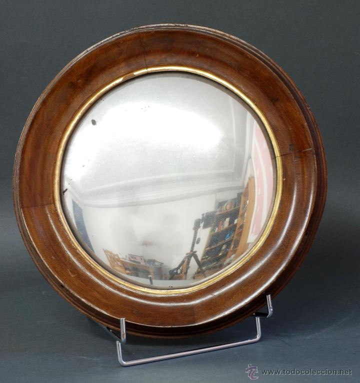 Espejo c ncavo ojo de buey madera nogal s xx comprar for Espejo concavo precio