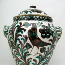 Antigüedades: MUY RARA - ANTIGUA ORZA FAJALAUZA MAGNESIO Y VERDE - 29 CM ALBARELO SIGLO. Lote 51997085