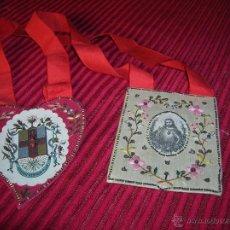 Antigüedades: PRECIOSO ESCAPULARIO MUY ANTIGUO BORDADO A MANO . Lote 52014990