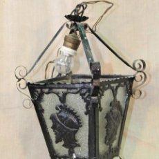 Antigüedades: FAROL DE TECHO EN HIERRO DE FORJA. Lote 52016796