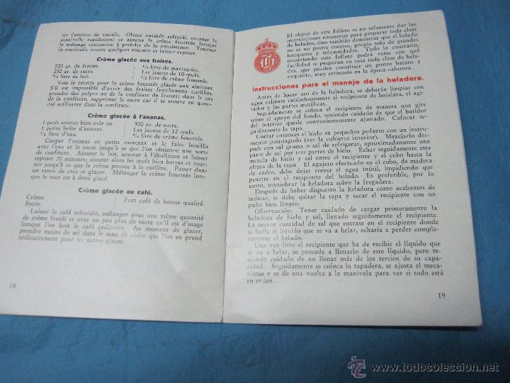 Antigüedades: ANTIGUA HELADERA DE MADERA E HIERRO MARCA RELIANCE FREEZERS Nº 2 LISBOA PIEZA DE MUSEO CON MANUAL - Foto 16 - 52022267