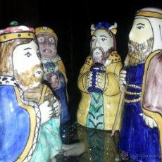 Antigüedades: RARISIMAS PIEZAS DE BELEN JUEGO DE REYES MAGOS Y SAN JOSE CERAMICA VIDRIADA ALQUIMIA, VER FOTOS. Lote 52022748