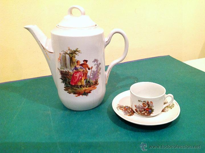 Antigüedades: Antigua Tetera De Porcelana Isabelina Y Taza - Foto 2 - 52027227