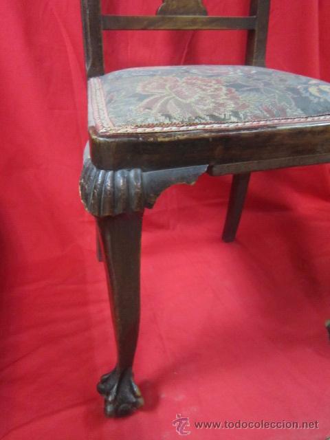 Antigüedades: Juego de seis sillas con patas de garras, para restaurar. - Foto 2 - 52032753
