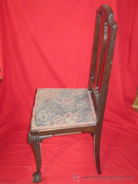 Antigüedades: Juego de seis sillas con patas de garras, para restaurar. - Foto 4 - 52032753