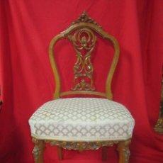 Antigüedades: PAREJA DE SILLAS EN MADERA PROFUSAMENTE TALLADAS.. Lote 52032927