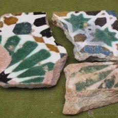 Antigüedades: LOTE DE 3 FRAGMENTOS DE AZULEJOS ANTIGUOS DE TOLEDO - ARISTA - LACERIA MUDEJAR - SIGLO XVI. AZULEJO.. Lote 52049560