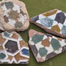 Antigüedades: LOTE DE 4 FRAGMENTOS DE AZULEJOS ANTIGUOS DE TOLEDO - ARISTA - MUDEJARES - SIGLO XVI - AZULEJO.. Lote 52121007