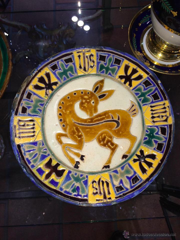 PLATO DE CUERDA SECA S.XIX TRIANA O PICKMAN (Antigüedades - Porcelanas y Cerámicas - Triana)