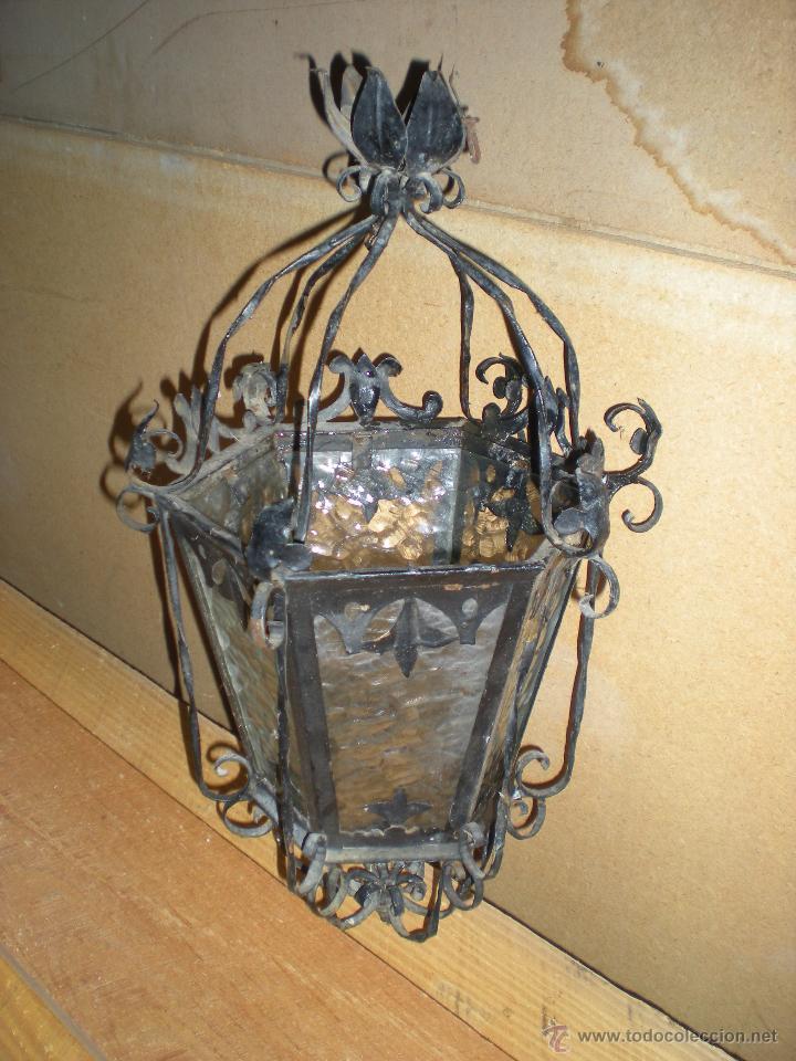 Antigüedades: Farol HECHO A MANO EN FORJA sin instalación - Foto 2 - 52134741