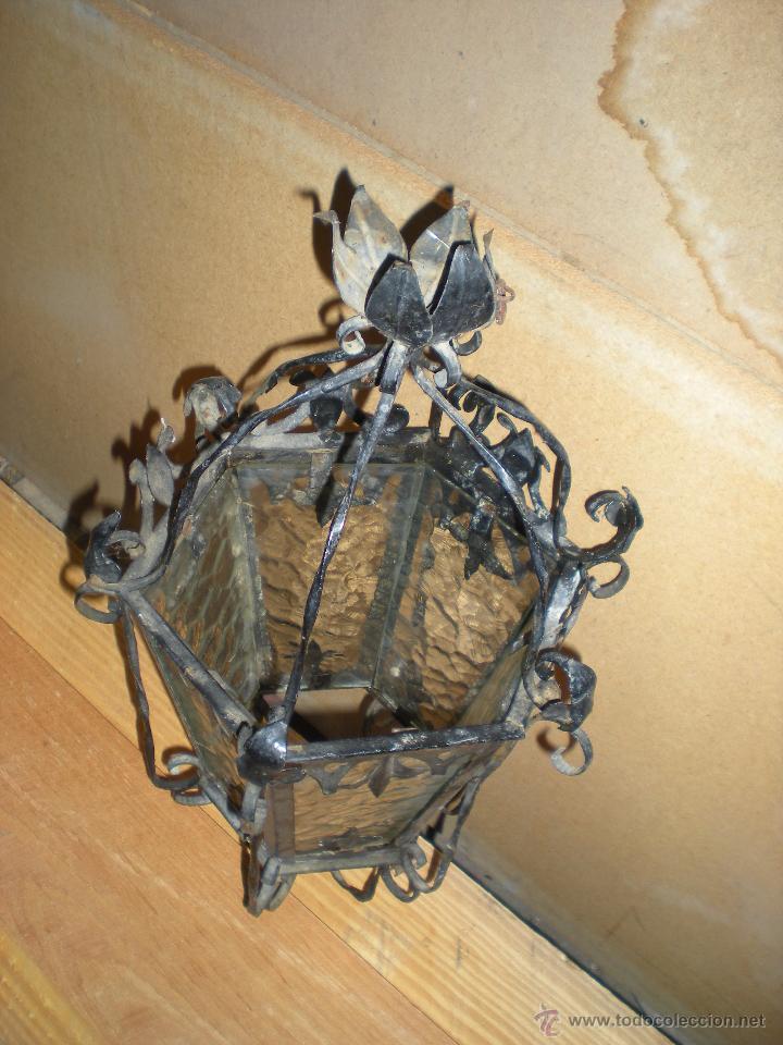 Antigüedades: Farol HECHO A MANO EN FORJA sin instalación - Foto 3 - 52134741