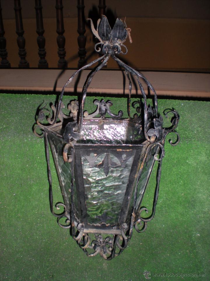 Antigüedades: Farol HECHO A MANO EN FORJA sin instalación - Foto 5 - 52134741