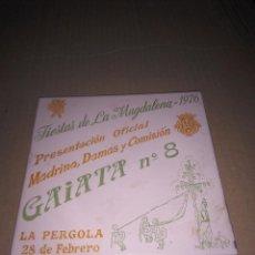 Antigüedades: AZULEJO DECORATIVO DE LA GAIATA Nº 8 DE LA MAGDALENA DE CASTELLÓN AÑO 1976. Lote 52136763