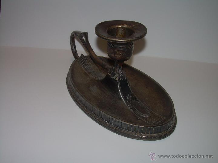 Antigüedades: ANTIGUO PORTAVELAS O PALMATORIA DE ESTAÑO......ART DECO. - Foto 3 - 52156851