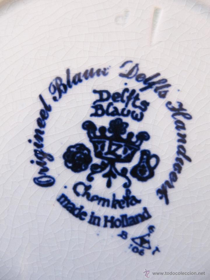 Antigüedades: BONITO PLATO ANTIGUO PARA COLGAR PINTADO A MANO CON SELLO DE DELFT - DELFTS BLAUW - DE ZOMER - Foto 3 - 52278608