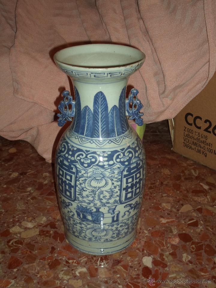 JARRON CHINO EN AZULES DEL SIGLO XIX CON CERTIFICADO (Antigüedades - Porcelanas y Cerámicas - China)