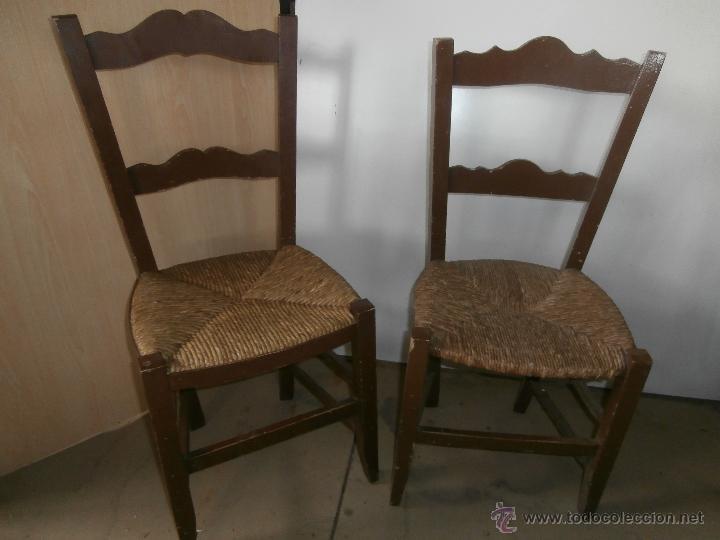Sillas de madera rusticas juego de mesa y sillas de for Sillas comedor antiguas