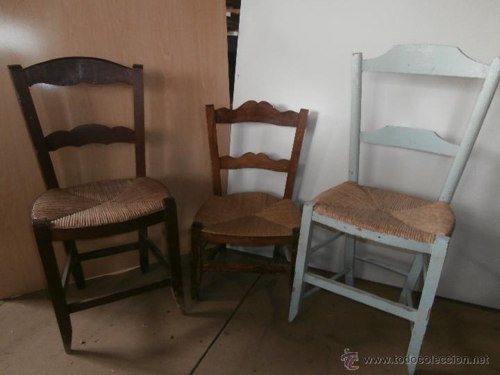 3 sillas antiguas de madera y anea diferentes p comprar - Restaurar mueble madera ...