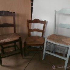 Antigüedades: 3 SILLAS ANTIGUAS DE MADERA Y ANEA DIFERENTES PARA RESTAURAR. Lote 52301412