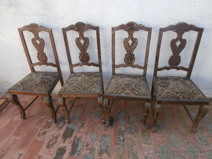4 antiguas sillas de madera tapizadas para rest comprar sillas antiguas en todocoleccion - Restaurar sillas de madera ...