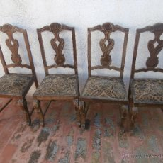 Antigüedades: 4 ANTIGUAS SILLAS DE MADERA TAPIZADAS PARA RESTAURAR. Lote 52302428