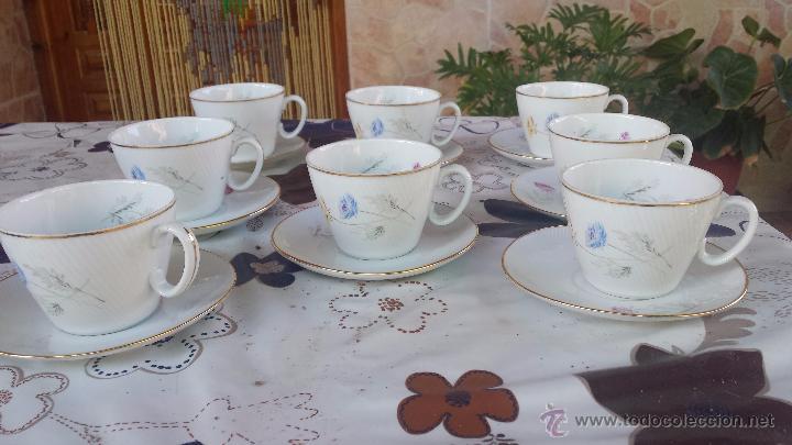 ANTIGUO JUEGO DE 8 TAZAS Y SUS PLATOS, SELLADOS SANTA CLARA (Antigüedades - Porcelanas y Cerámicas - Santa Clara)