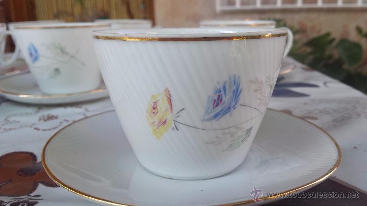 Antigüedades: antiguo juego de 8 tazas y sus platos, sellados santa clara - Foto 3 - 52307529