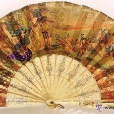 Antigüedades: ANTIGUO ABANICO TALLADO EN HUESO PAIS DE PAPEL BORDADO EN SEDA EN RELIEVE - SIGLO XIX. Lote 51066599